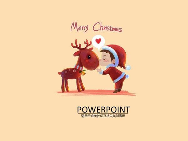 可爱圣诞节主题风格手绘插画节日ppt模板