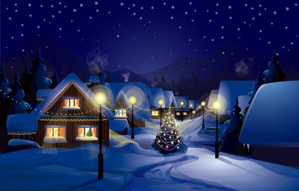 矢量素材    蓝色背景圣诞节平安夜城镇雪景